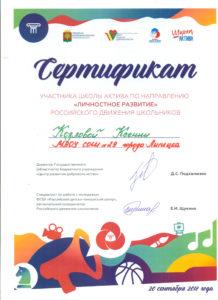 сертификат козлова ксения